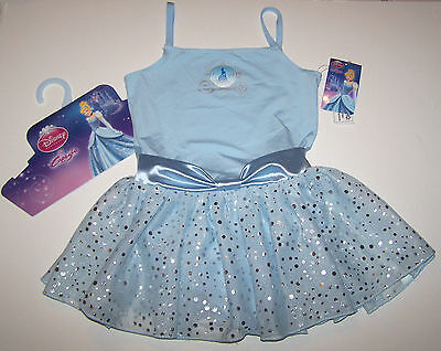 Nwt New Capezio Disney Princess Leotard Dress Cinderella Hologram Blue Girl XS