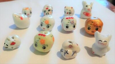 Twelve Porcelain Animal Beads,Assorted Types , Approx.10-13,   #306