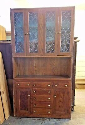 Free Ship Antique Buffet Arts & Crafts Sideboard Cabinets Style Hutch Lead Glass