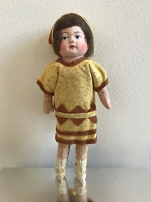 Vintage Paper Mache Doll - Straw Body - German