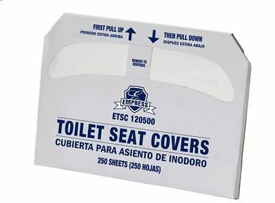 Empress Half-Fold Toilet Seat Covers, White - Case of 5000