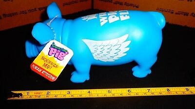 "NEW Squeezable SNORTING  PIG Porkin' Attitude w/ Painted Wings ""When Pigs Fly"""