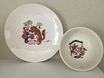 Vintage Little Red Riding Hood Big Bad Wolf BOWL & PLATE Child Taylor Smith TST