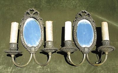 Antique Vintage Early 20thC Art Nouveau Pair Mirrored Silver Light Sconces