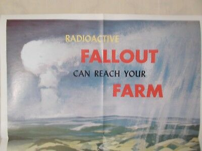 """Colorful 1960 Civil Defense - """"Radioactive Fallout Can Reach Your Farm"""" Poster"""