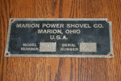 Marion Power Shovel Marion Ohio Serial Number Plate