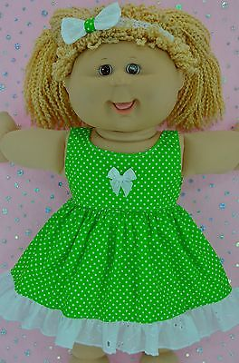 """Play n Wear Doll Clothes For 16"""" Cabbage Patch LIME POLKA DOT DRESS~HEADBAND"""