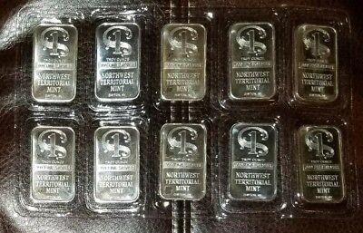 Lot of 10 - 1 oz Pure .999 Silver Bars - NWTM - Northwest Territorial Mint