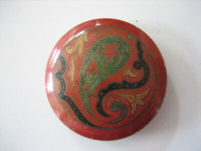 """Vintage Large 1-3/8"""" Red, Green, Black, Yellow Paisley Celluloid Button - O24"""