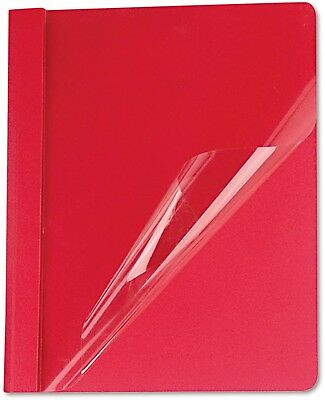 Universal Clear Front Report Cover, Tang Fasteners, Letter Size, Red, 25/Box