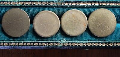 Lot of 4 Antique Gilded Brass Button Flat / Coin Shaped Assorted Backmarks  20mm