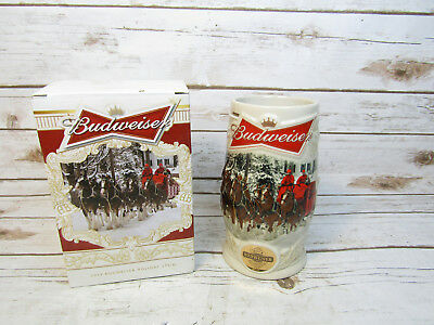 2014 Budweiser Holiday Stein Clydesdale Horses Ceramic In Box