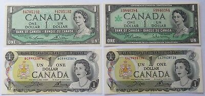 1954/67/73 Canada $1 One Dollar Bills - Crisp UNC, Four Canadian notes (172004W)