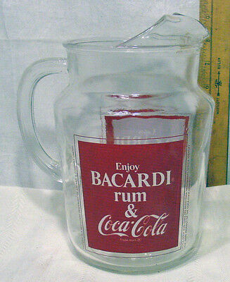 Vintage 1970's Bacardi Rum and Coca-Cola Advertising Glass Pitcher