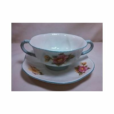 Vintage Cream Soup and Saucer Plate Begonia Shelley England Blue Floral