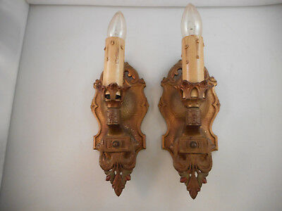 Pair Antique Vintage Electric Wall Sconces/Light Fixtures-Original Paint-Cast