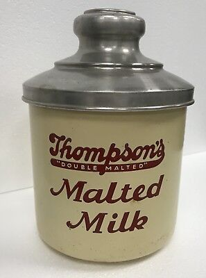 VINTAGE Thompson's Double Malt Malted Milk Container Soda Fountain Can