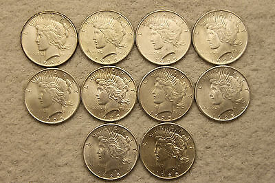 1925 UNC Silver PEACE Dollars HALF ROLL of 10 $1 US Coin Lot #6