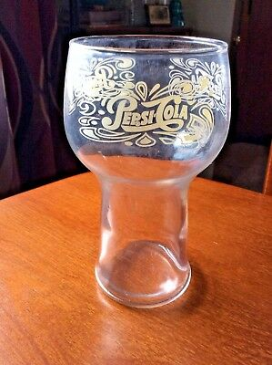 "6"" Tall Vintage PEPSI-COLA Drinking Glass Bell Shaped RETRO white lettering."