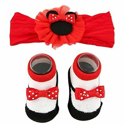 Disney Baby Girls Minnie Mouse Headwrap and Booties Gift Set Red 0-12M