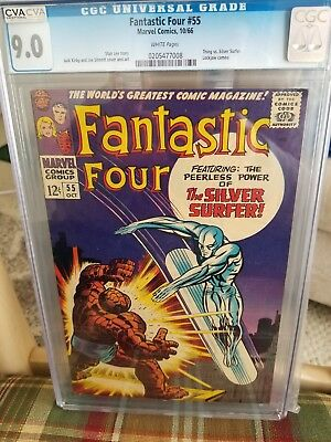 Fantastic Four #55 (Oct 1966, Marvel) CGC 9.0 White Pages Thing vs.Silver Surfer