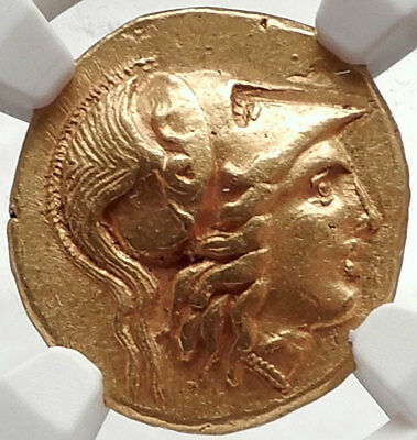 ALEXANDER the GREAT Lifetime Authentic 325 BC Gold Stater Certified NGC AU  RARE