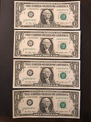 Lot of 4 CONSECUTIVE Uncirculated Series 1977 $1 *STAR* Federal Reserve Notes