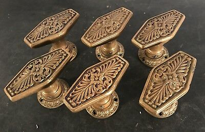 Lot 6 antique vtg Waldorf Astoria doorknob door knobs w/ original rosettes brass