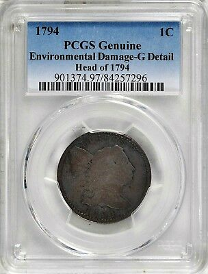 1794 LIBERTY CAP LARGE CENT,  PCGS G Details,  S-72, R2,  Combined Shipping