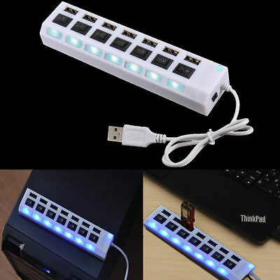 7-Port USB 2.0 Black Hub with High Speed Adapter ON/OFF Switch for Laptop / PCAU