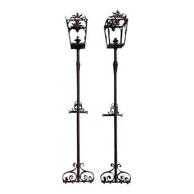 Amtique French Wrought Iron Street Light Pair Pair Garden Lamps