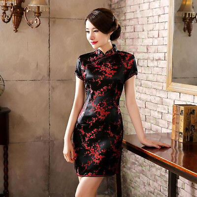 Chinese Cheongsam Qipao Plum Blossom Women Mini Dress for Photography Latest