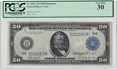 Large Size 1914 $50 Fr.1042 PCGS VF30 Federal Reserve Note Fifty Dollar Bill!