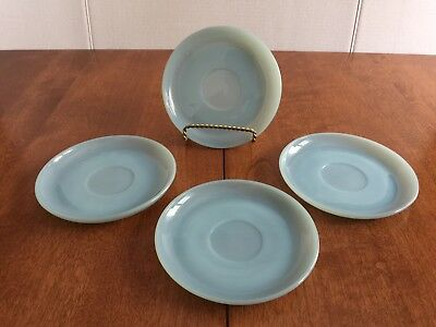 Vtg Fire-King Turquoise Blue Saucers Lot Of 4 EUC!