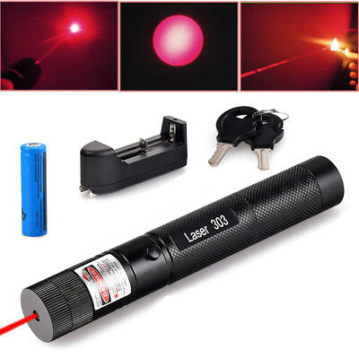 Military 5mw Red Laser Pointer Pen 532nm Visible Beam Zoom Burn+ 18650 Battery