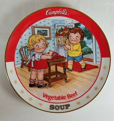 """Danbury Mint, The Campbell Kids, """"Vegetable Beef"""" Soup Collectors Plate Limited"""