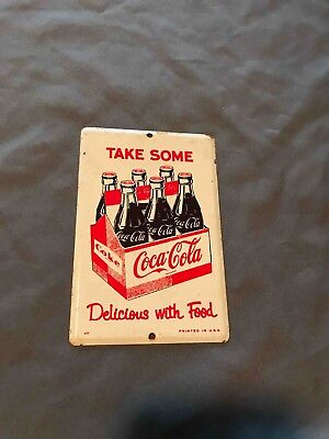 Old Take Some Home Coca-Cola 6 Pack Tin Advertising Door Push Plate Soda sign
