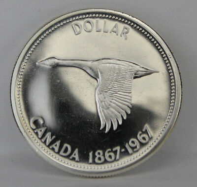 1967 BU Proof-Like Canada Silver Dollar Goose in Flight Coin Capsule Item #13
