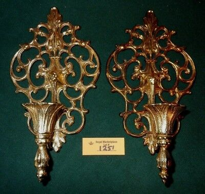 VINTAGE ORNATE Gold Tone METAL Wall Sconce CANDLE HOLDERS