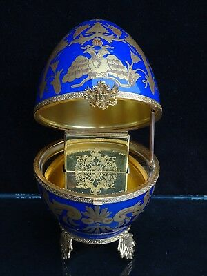 Exquisite Faberge Imperial Czarevich Limoges Cobalt Egg W/ 24 Kt Gold Accents