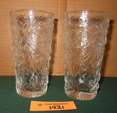 2 CLEAR Textured Drink Glasses, TUMBLERS Vintage Retro