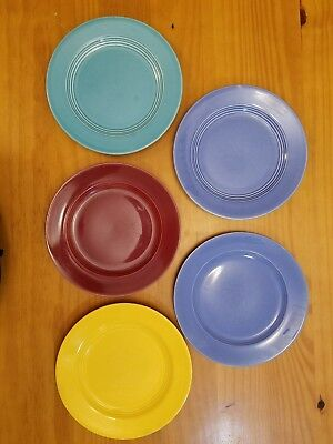 """HOMER LAUGHLIN Harlequin 5-9.25"""" LUNCH/DINNER PLATES Yellow,Turquoise,Blue,Mauve"""