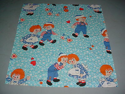 """Vtg Raggedy Ann Andy Curtain Panel Cotton 34"""" Wd 37"""" Long Fabric Cutter Crafts"""