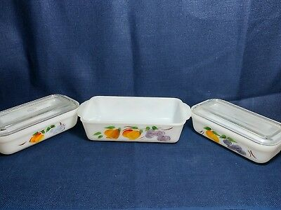Set- Vintage Fire King Hand Painted Fruit Refrigerator Containers And Loaf Dish