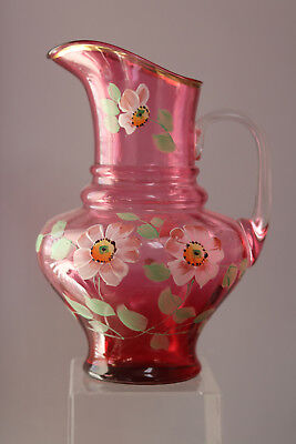 """Vintage Art Glass Crabberry Pitcher hand painted Floral 11"""" tall"""