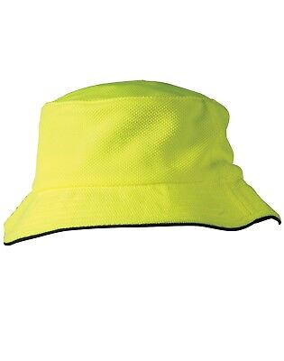 BUCKET HAT au adult size HI VIS orange with navy line or yellow with navy line