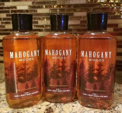 Lot Of 3 Bath And Body Works Mahogany Woods Hair+Body Wash For Men