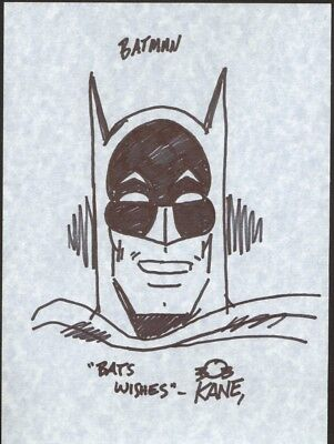 Bob Kane Original Sketch of Batman and Signed