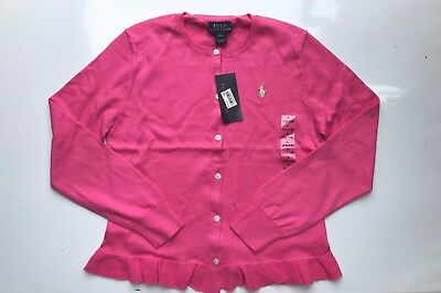 Polo Ralph Lauren Girls Ruffled Cotton Cardigan Bright Rose Sz L (12-14) - NWT