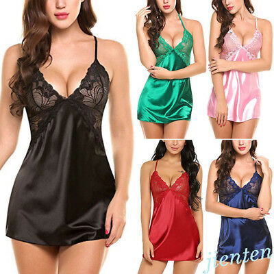 Women Lady Sexy Lace Sleepwear Satin Nightwear Lingerie Pajamas Suit Size S-XXL